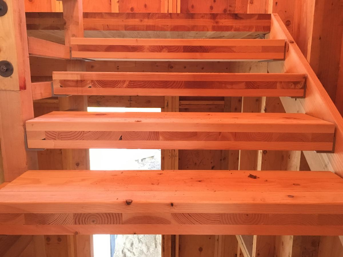 cross-laminated timber off-cuts used as stair treads