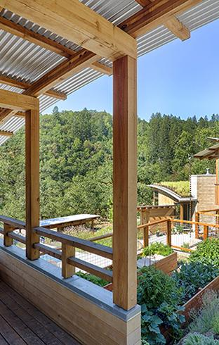 Watershed Straw Bale Residence roof deck