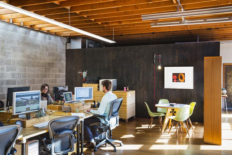 Celery - workspace featuring clerestory light at existing block wall