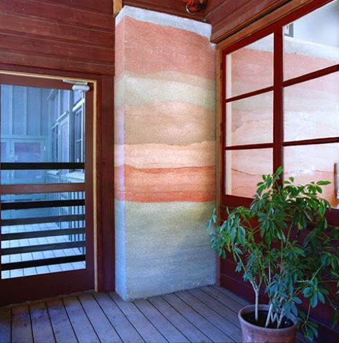 Hidden Villa rammed earth wall