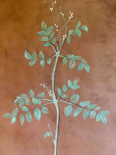 Detail of Mahonia plant in plaster wall