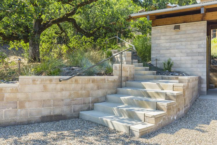 Watershed Straw Bale Residence entry path
