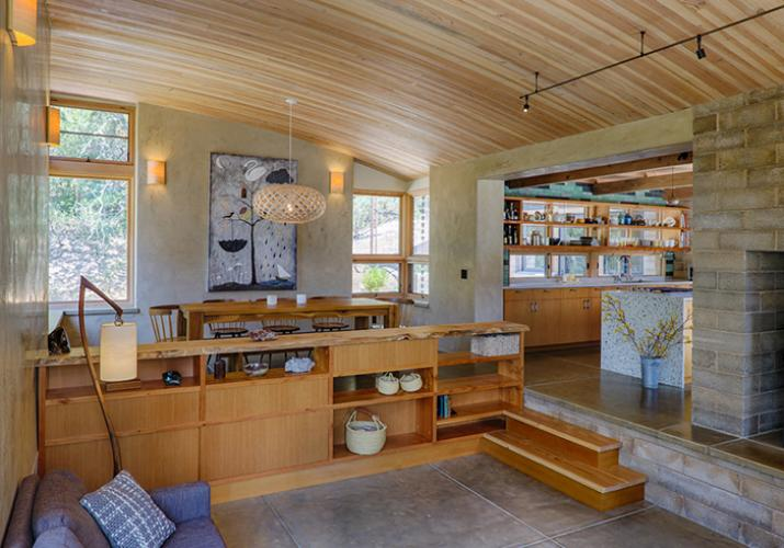 Watershed Straw Bale Residence exposed framing living room