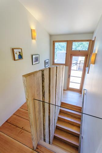 Watershed Straw Bale Residence stair hall