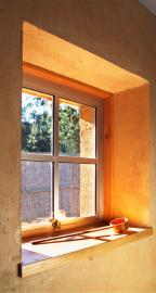 Window in plastered straw bale wall