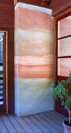 Detail of rammed earth wall at Hidden Villa